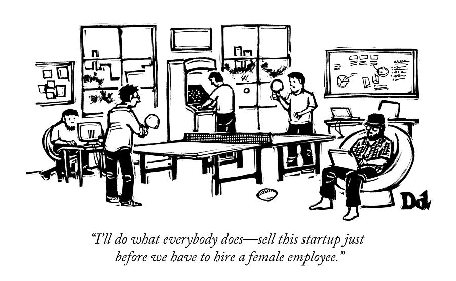 An Office Of Male Tech Entrepreneurs Drawing by Drew Dernavich