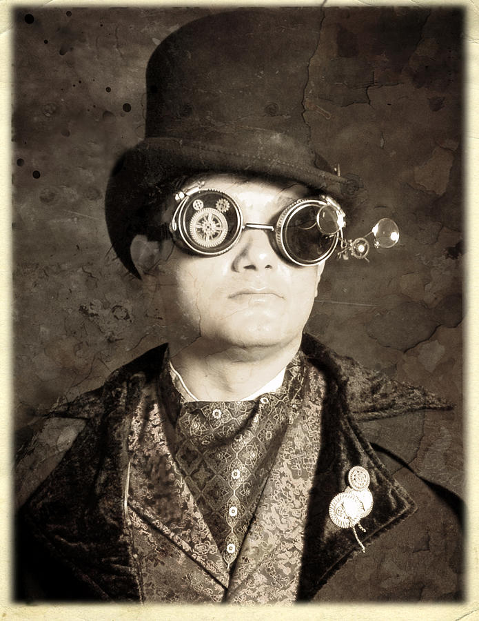 Steampunk Photograph - An Old Battered Photograph Of A Well-dressed Gentleman by Evan Butterfield