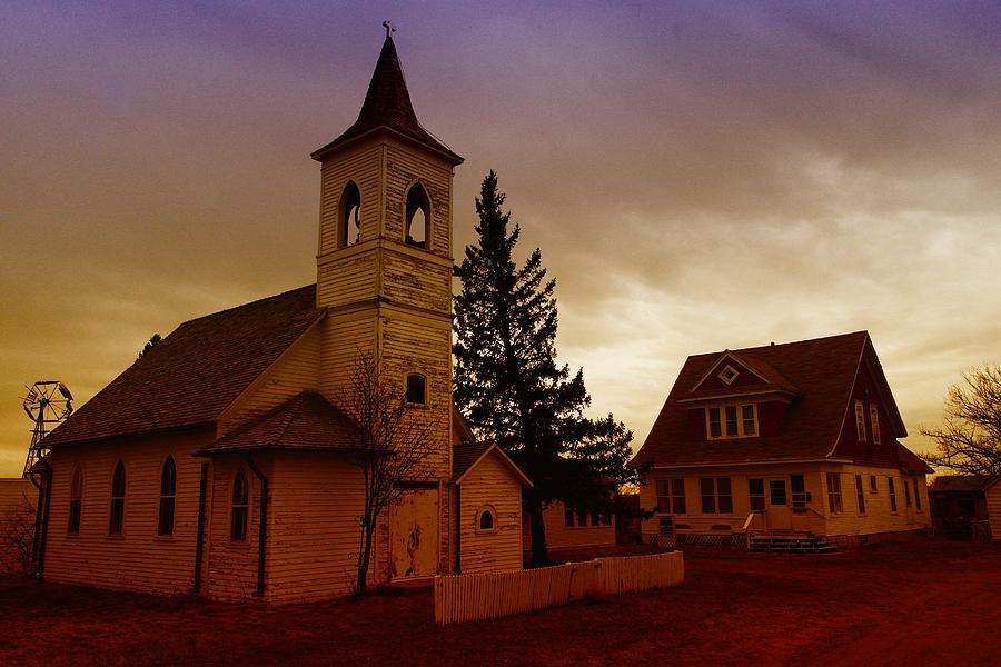 Churches Photograph - An Old Church In Williston North Dakota  by Jeff Swan