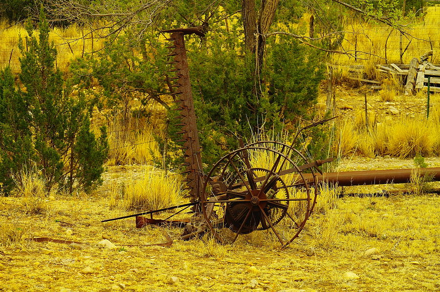 Farm Equipment Photograph - An Old Grass Cutter In Lincoln City New Mexico by Jeff Swan