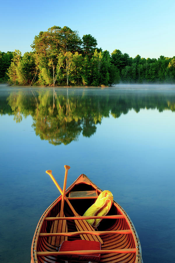 An Old Wooden Canoe On Calm Lake Photograph by Tom Whitney Photography