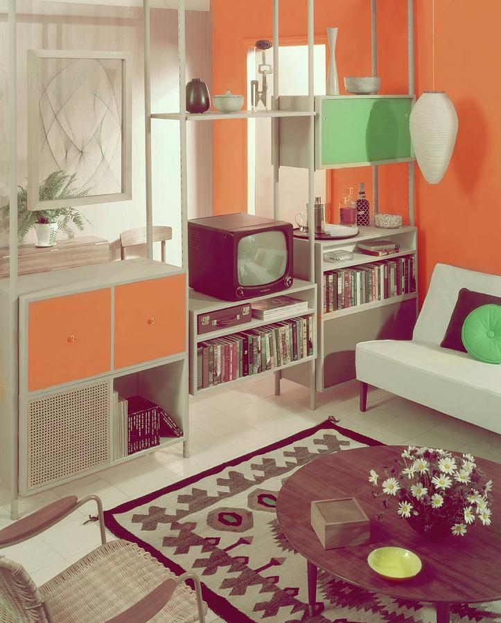 An Orange Living Room Photograph by Haanel Cassidy