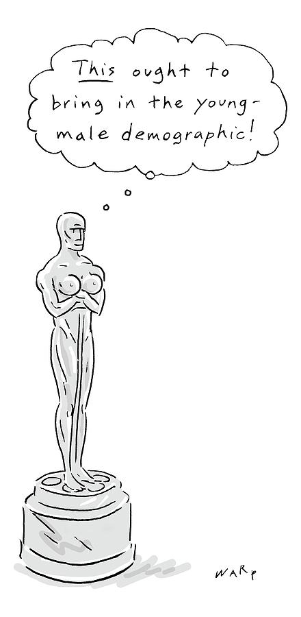 An Oscar Statue With Breasts Thinking This Ought Drawing by Kim Warp