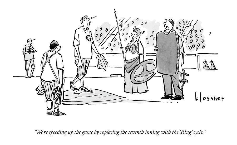 An Umpire At A Baseball Game Presents The Viking Drawing by John  Klossner