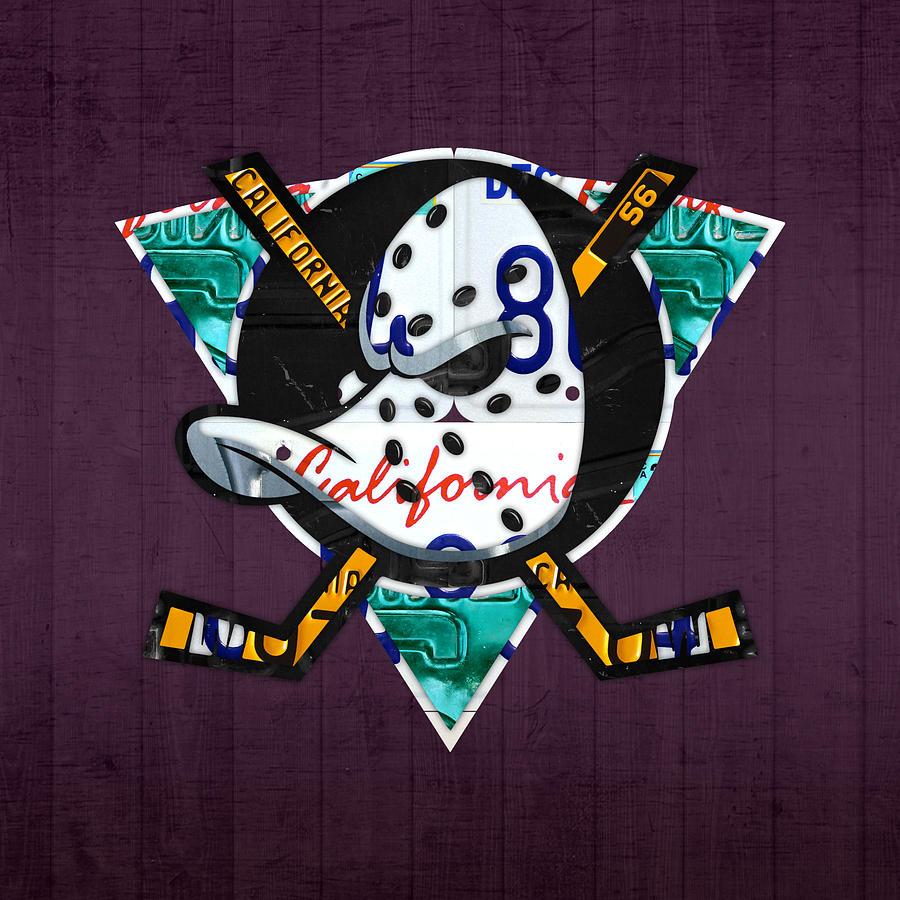 Anaheim Mixed Media - Anaheim Ducks Hockey Team Retro Logo Vintage Recycled California License Plate Art by Design Turnpike