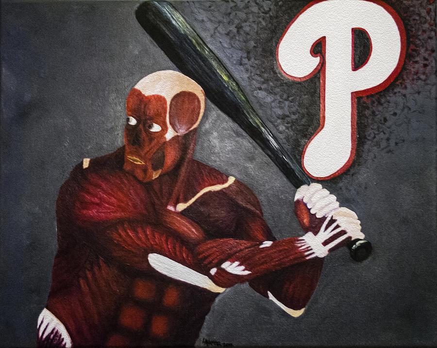 Baseball Painting - Anatomy At Bat by Leslie Ann Hammer