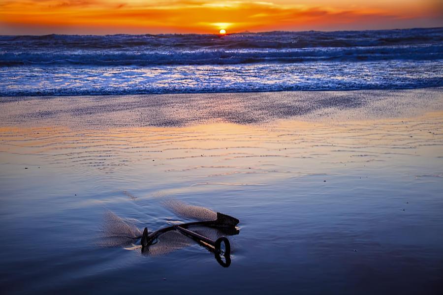 Anchor Photograph - Anchor Ocean Beach by Garry Gay