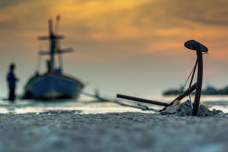 Anchor On Sand Photograph by Arthit Somsakul