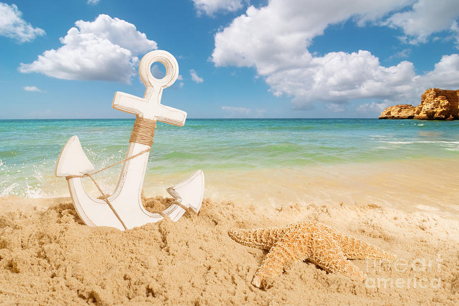 Anchor Photograph - Anchor On The Beach by Amanda Elwell