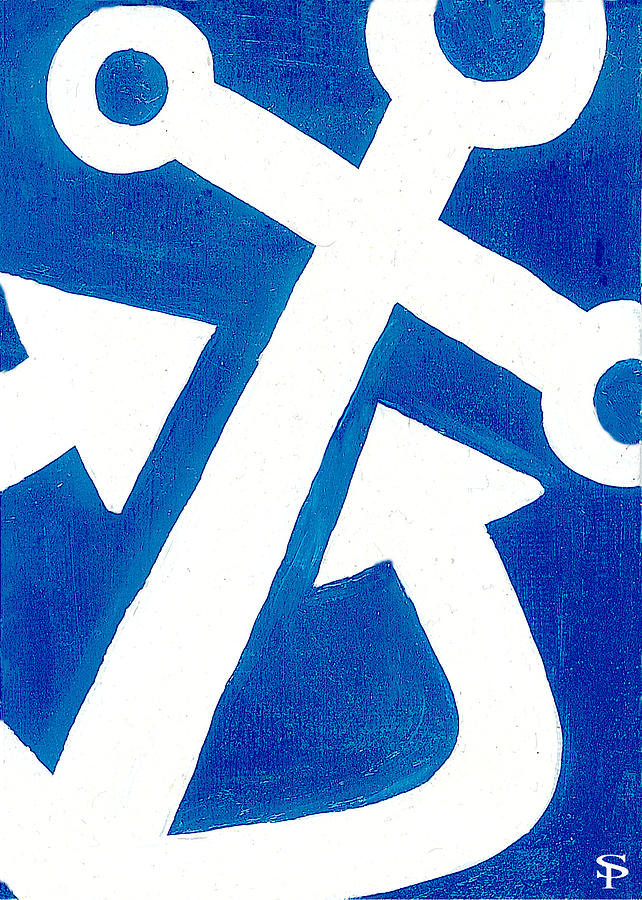 Anchor Painting - Anchor- Royal Blue by Catherine Peters