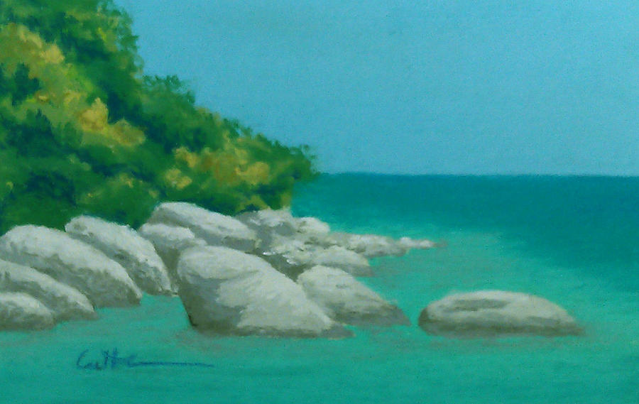 Caribbean Painting - Anchorage 2 by Diane Cutter