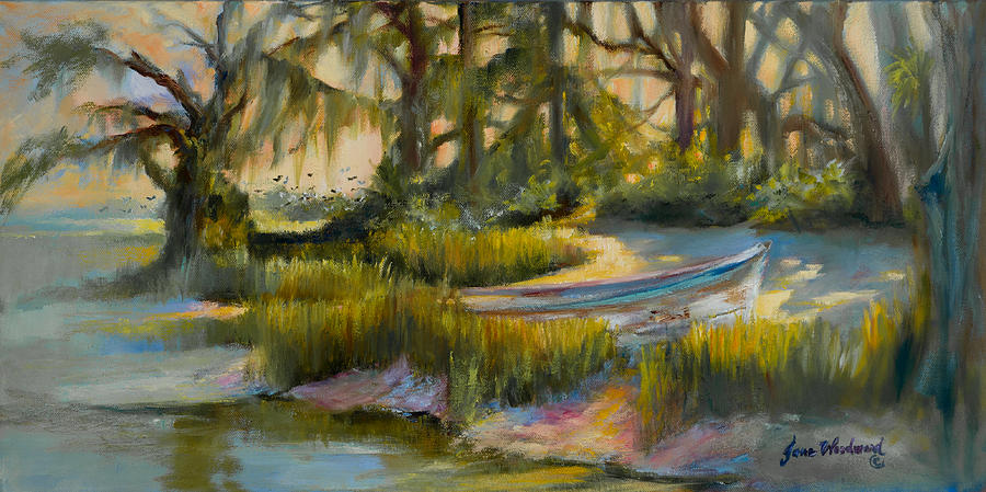 Boat Painting - Anchored In The Marsh by Jane Woodward