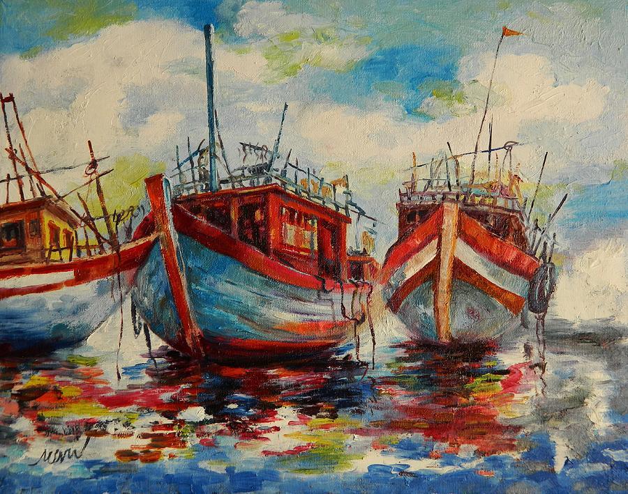 Ship Painting - Anchored by Min Wang