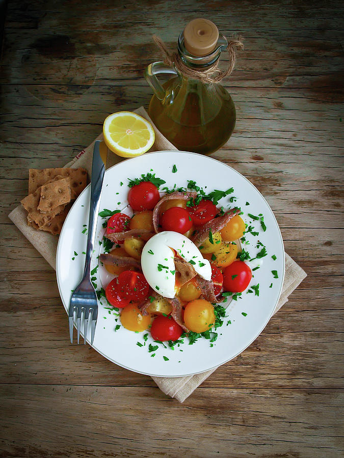 Anchovy, Cherry Tomatos And Egg Salad Photograph by Curly Courland Photografy