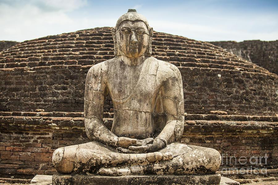 Ancient Photograph - Ancient Buddha Statue At Polonnaruwa by Patricia Hofmeester
