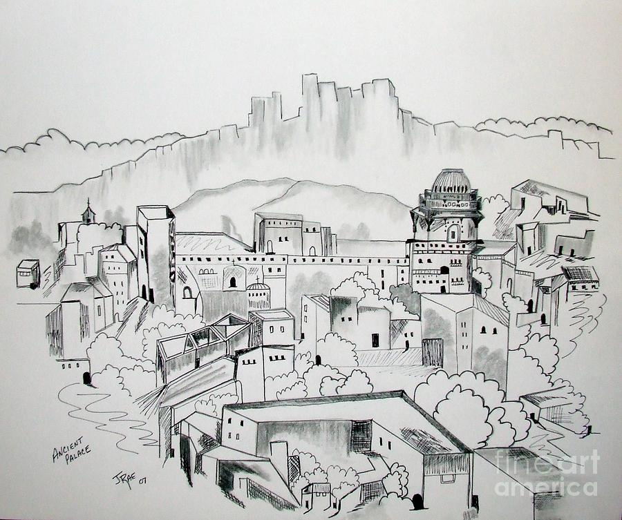 Ancient City In Pen And Ink Drawing By Janice Rae Pariza