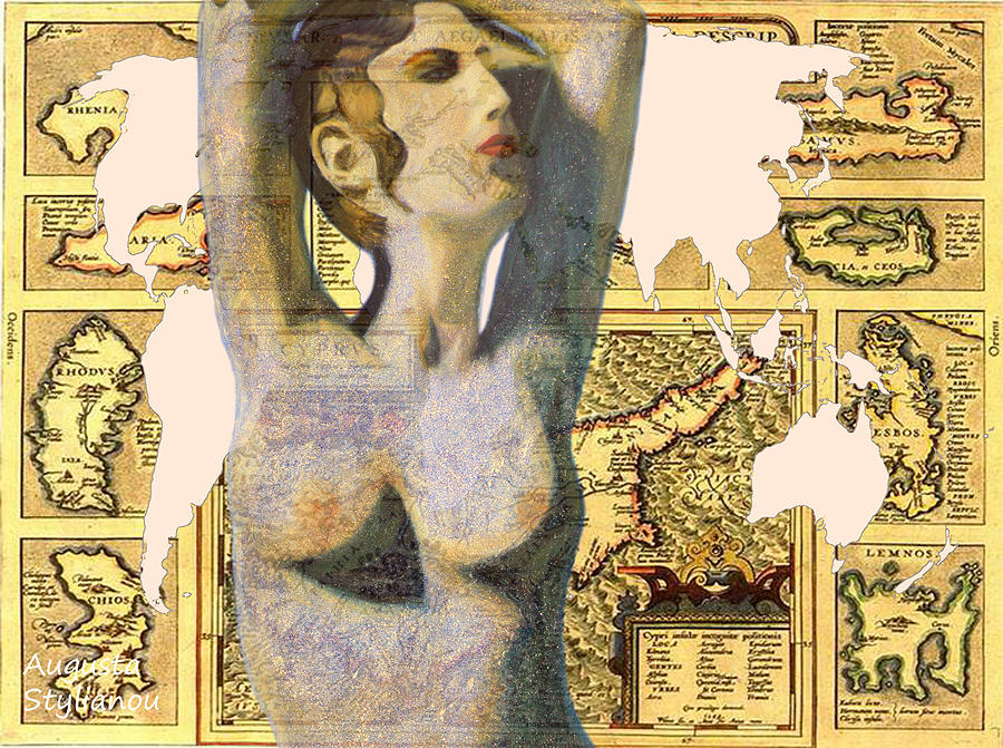 Continents Digital Art - Ancient Cyprus Aphrodite And World Map  by Augusta Stylianou