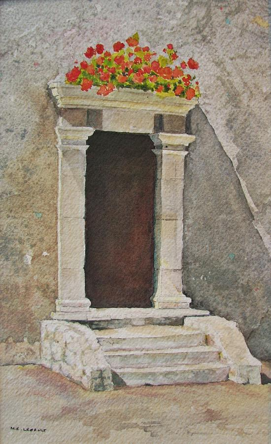 Floral Painting - Ancient Doorway  by Mary Ellen Mueller Legault
