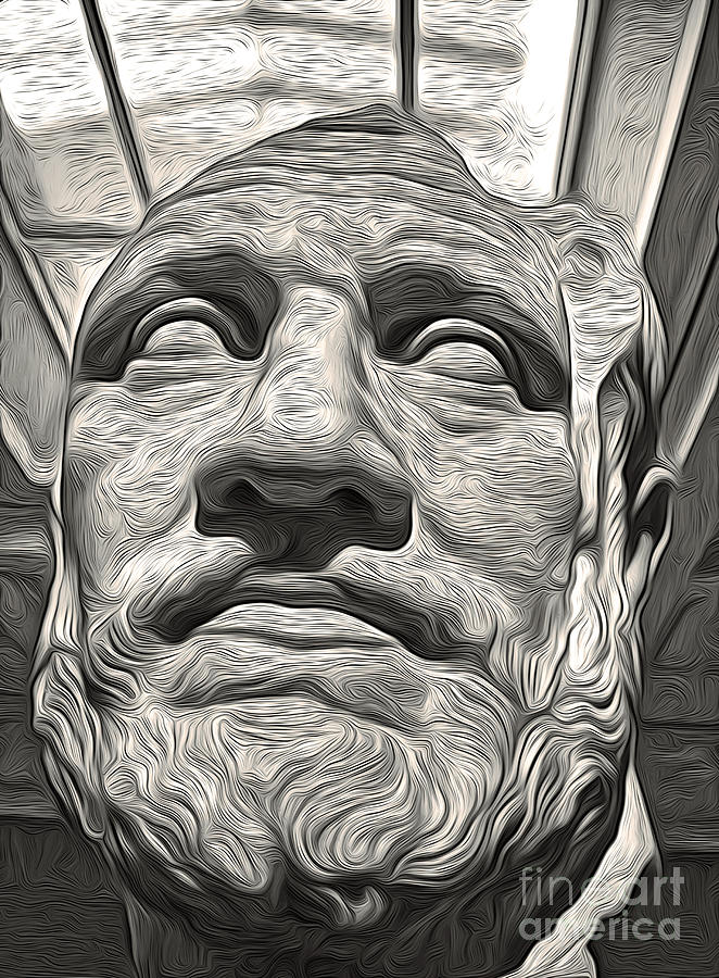 Black And White Photography Painting - Ancient Greek Bust by Gregory Dyer