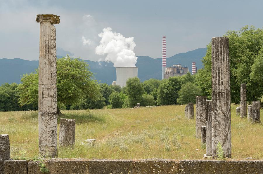 Ancient Civilization Photograph - Ancient Megalopolis And Coal Powerplant. by David Parker/science Photo Library