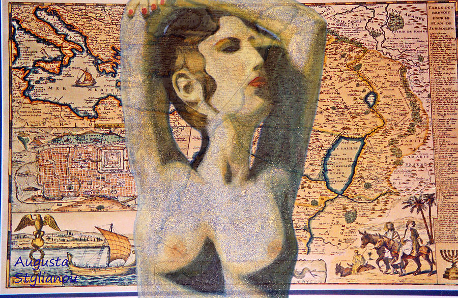 Best Selling Prints Digital Art - Ancient Middle East Map And Aphrodite by Augusta Stylianou