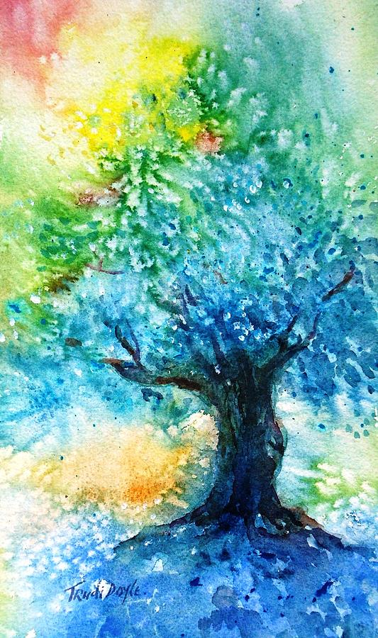 Ancient Olive Painting - Ancient Olive Tree  Athenas Gift  by Trudi Doyle