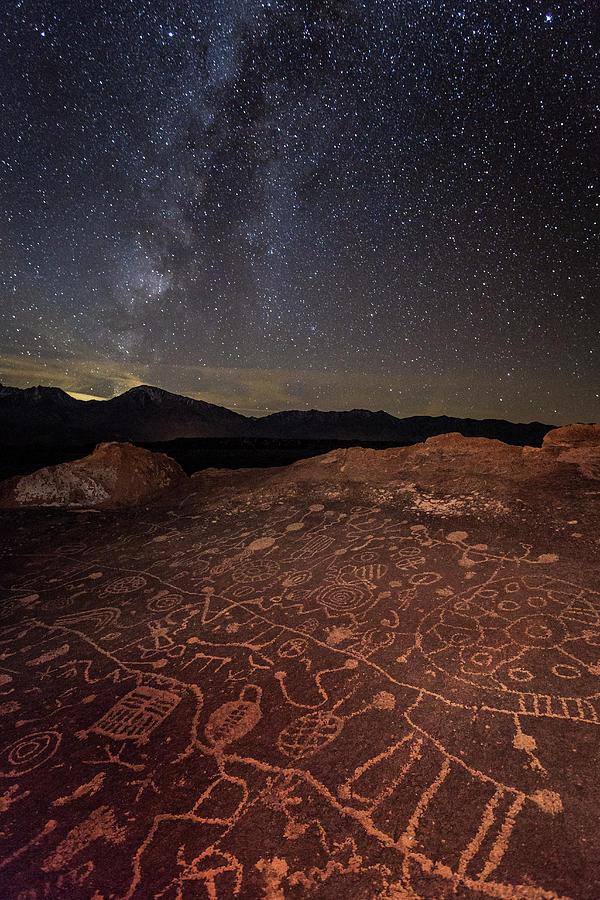 Ancient Rock Art Under A Starry Sky Photograph by Daniel J Barr