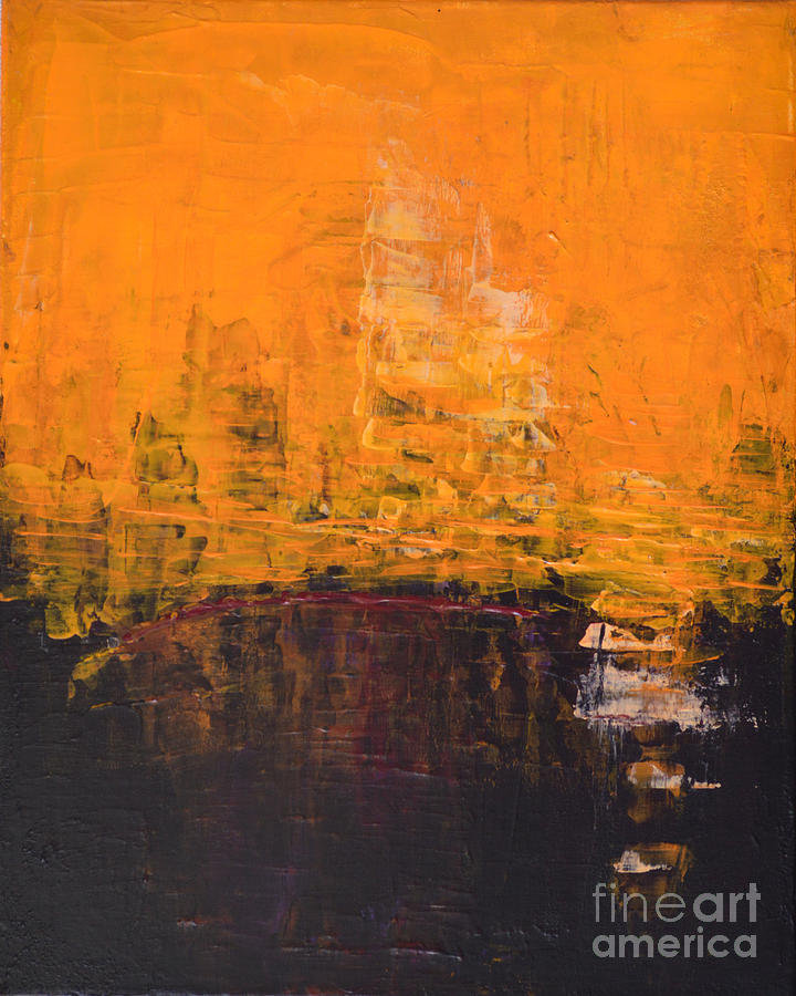 Color Painting - Ancient Wisdom Orange Brown Abstract By Chakramoon by Belinda Capol