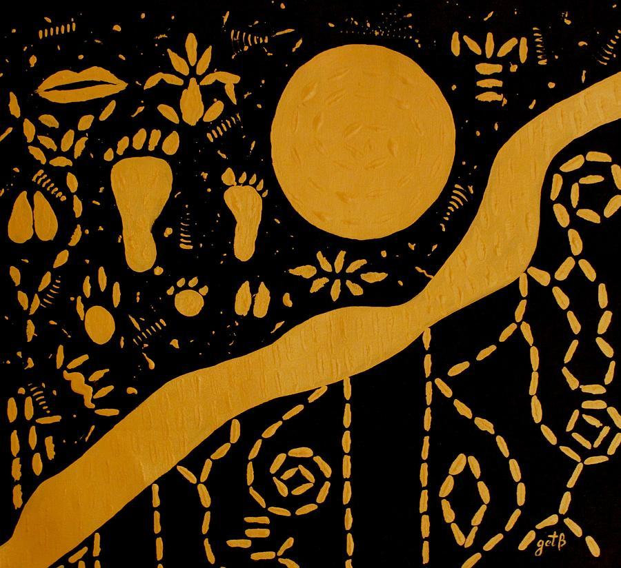 Tribal Art Painting - Ancient Worship Tribal Art by Georgeta  Blanaru