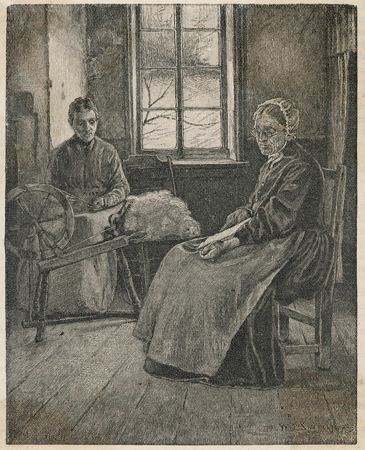 Spinning Drawing - And Carding In A Canadian Home by Mary Evans Picture Library