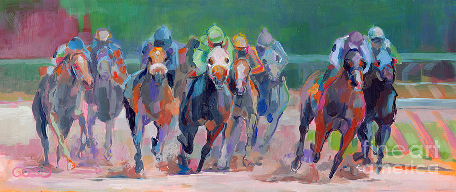 Saratoga Painting - And Down The Stretch They Com by Kimberly Santini