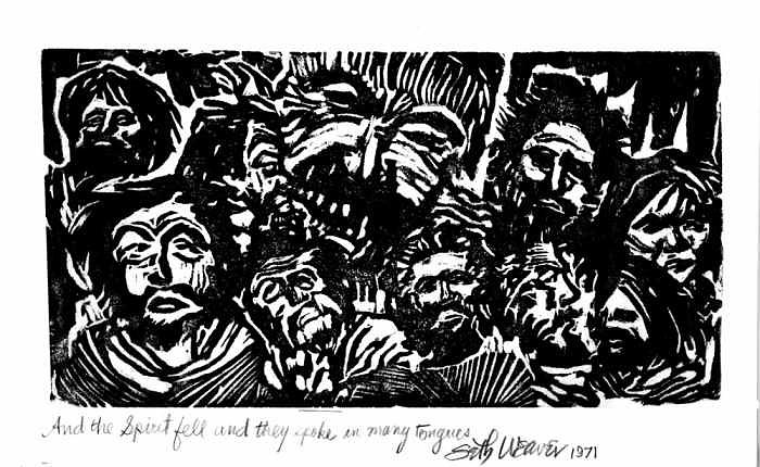 Linocut Print Relief - And The Spirit Fell by Seth Weaver