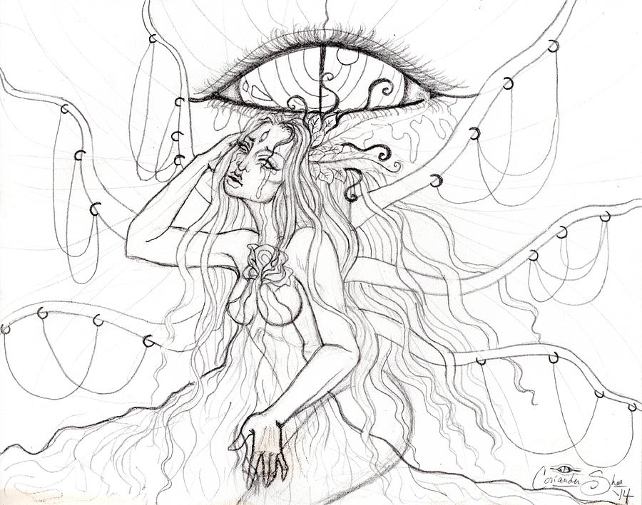 Lady Drawing - ...and The Sun Bled Gold by Coriander  Shea