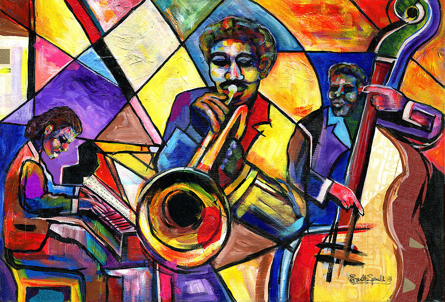 Jazz Painting - And Then There Was Da Blues by Everett Spruill