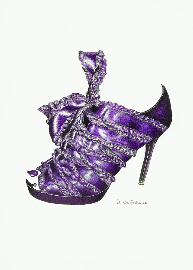Shoe Drawing - ...and Toes To Match - Purple by Sherri Vanschaick