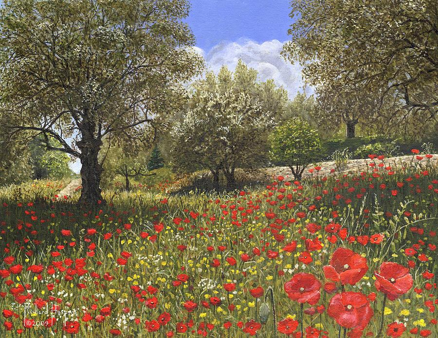 Landscape Painting - Andalucian Poppies by Richard Harpum