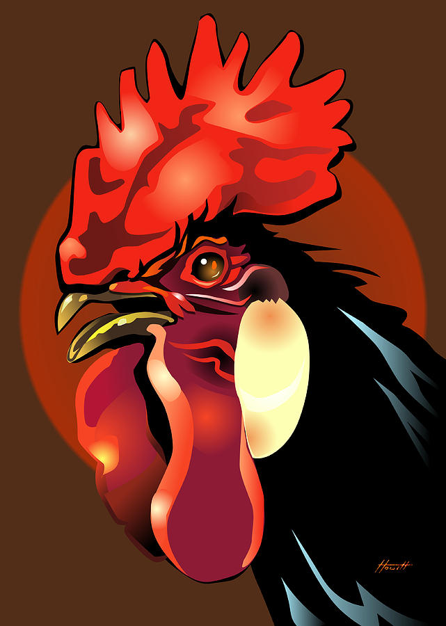 Bird Digital Art - Andalusian Rooster 2 by Patricia Howitt