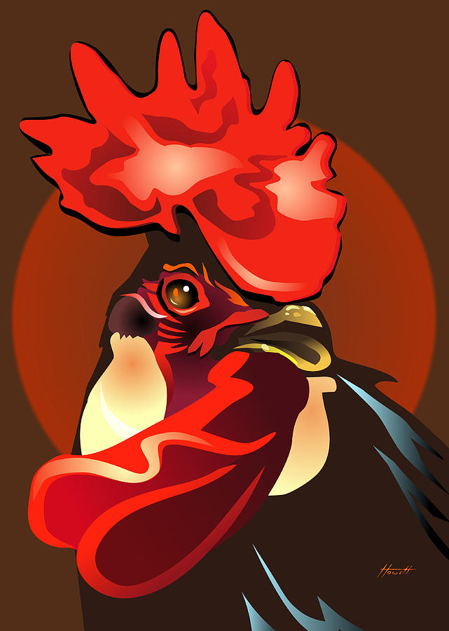 Bird Digital Art - Andalusian Rooster The Second by Patricia Howitt