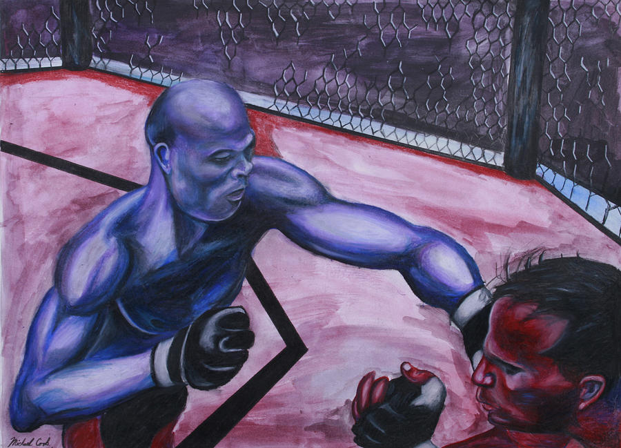 Ultimate Fighting Championship Painting - Anderson Silva Vs. Rich Franklin by Michael Cook