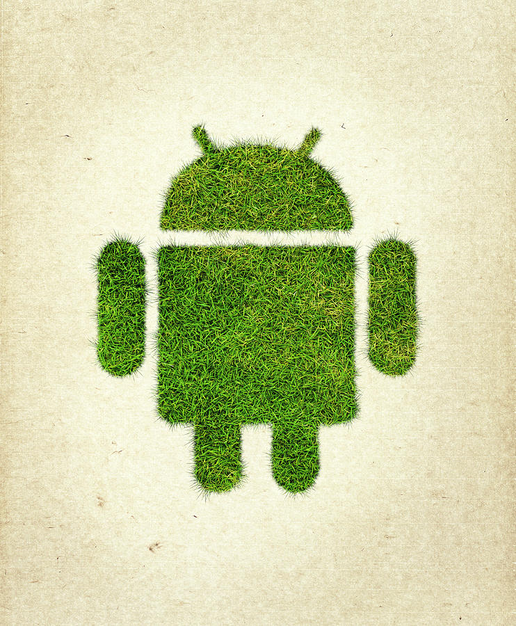 Android Logo Photograph - Andoird Grass Logo by Aged Pixel
