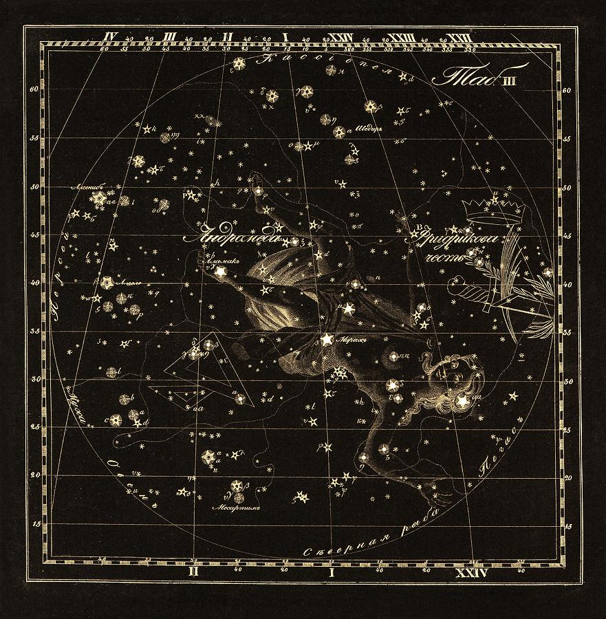 Andromeda Photograph - Andromeda Constellations, 1829 by Science Photo Library