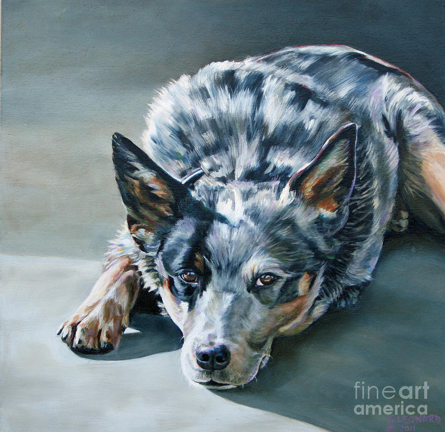 Australian Cattle Dog Painting - Andy by Suzanne Leonard