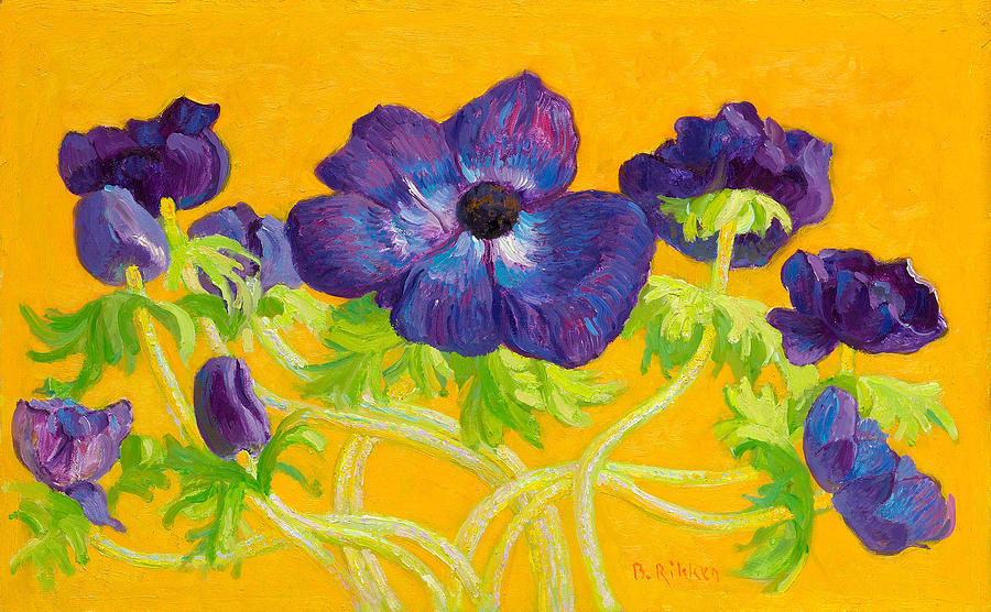 Florals Painting - Anemones On A Yellow Background by Ben Rikken
