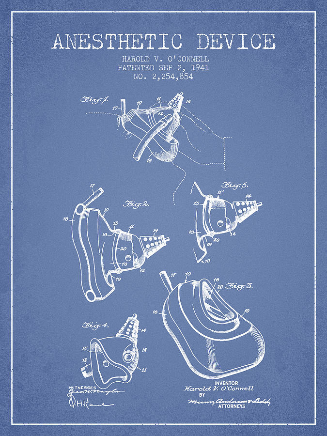Anesthetic Digital Art - Anesthetic Device Patent From 1941 - Light Blue by Aged Pixel