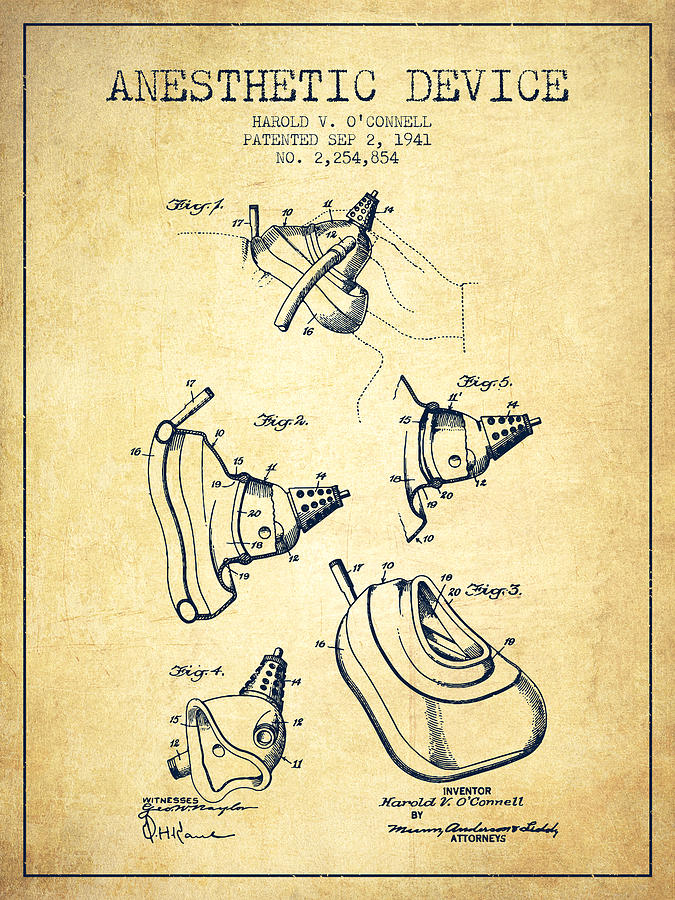 Anesthetic Digital Art - Anesthetic Device Patent From 1941 - Vintage by Aged Pixel