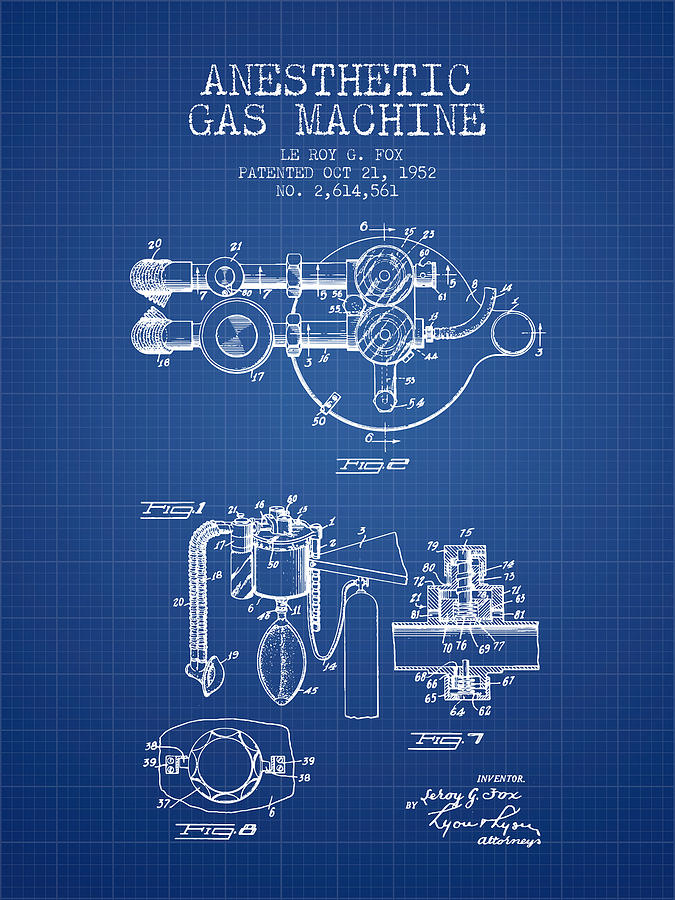 Anesthetic gas machine patent from 1952 blueprint digital art by anesthesia digital art anesthetic gas machine patent from 1952 blueprint by aged pixel malvernweather Image collections