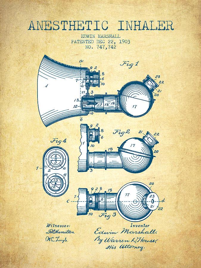 Anesthetic Inhaler Patent From 1903 - Vintage Paper Digital Art