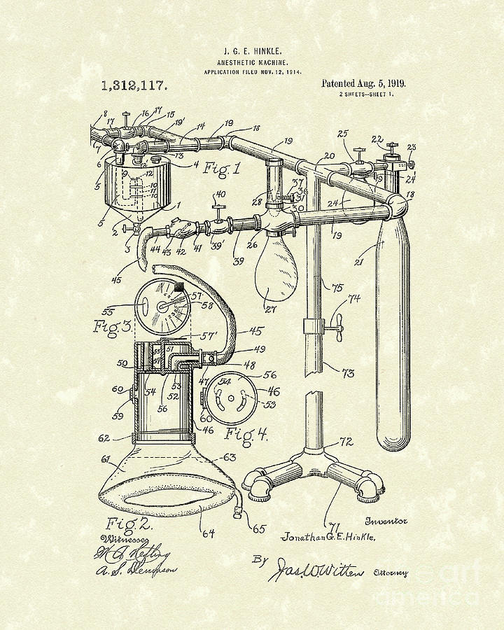 Anesthetic Machine 1919 Patent Art by Prior Art Design