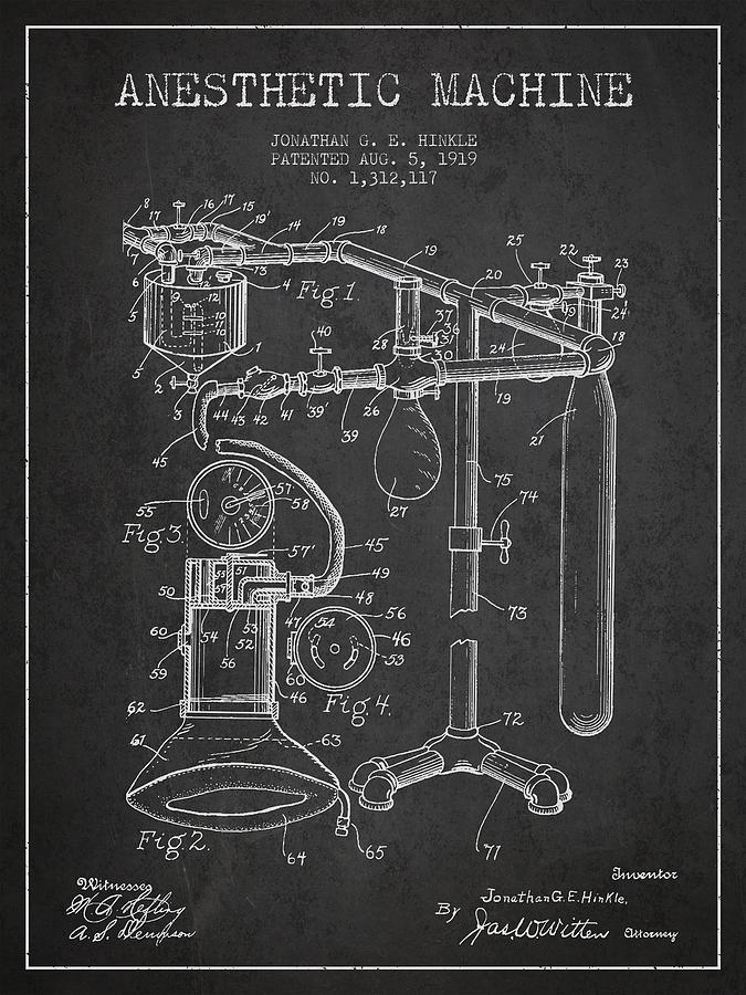 Anesthetic Digital Art - Anesthetic Machine Patent From 1919 - Dark by Aged Pixel
