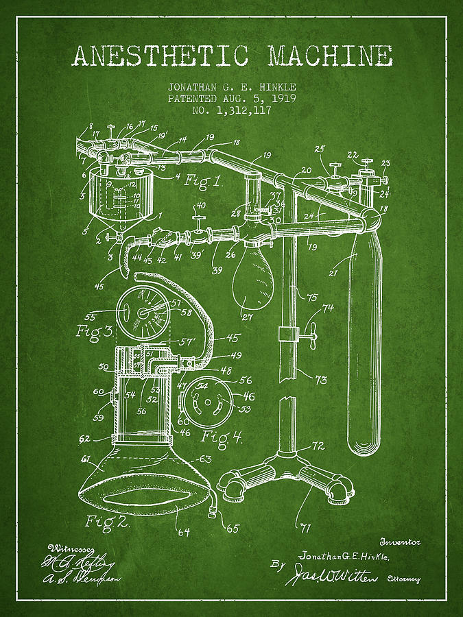 Anesthetic Digital Art - Anesthetic Machine Patent From 1919 - Green by Aged Pixel